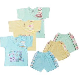 Jo kids wear Baby Boy Cotton Dress Set (Top and Shorts), Multi Color, Set of 3 (1009)