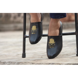 Blue Pop Black Loafers with embroidery