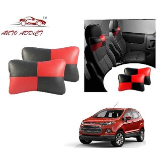 Auto Addict Square Red Black Neck Rest Cushion Pillow Set Of 2 Pcs For Ford Ecosport