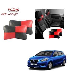 Auto Addict Square Red Black Neck Rest Cushion Pillow Set Of 2 Pcs For Datsun Go+