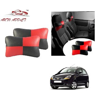Auto Addict Square Red Black Neck Rest Cushion Pillow Set Of 2 Pcs For Chevrolet Spark
