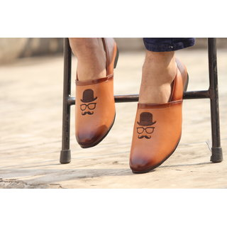 Blue Pop Tan Loafers with embroidery