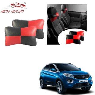 Auto Addict Square Red Black Neck Rest Cushion Pillow Set Of 2 PcsFor Tata Nexon