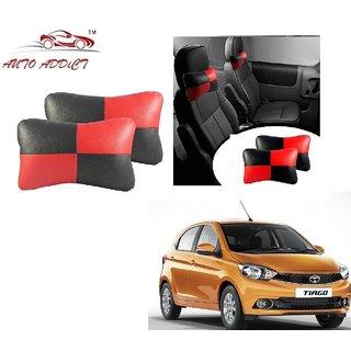 Auto Addict Square Red Black Neck Rest Cushion Pillow Set Of 2 PcsFor Tata Tiago