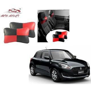 Auto Addict Square Red Black Neck Rest Cushion Pillow Set Of 2 PcsFor Maruti Suzuki New Swift 2018