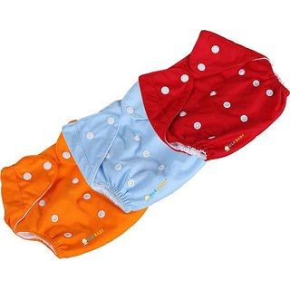New Adjustable Reusable Lot Baby Washable Cloth Diaper Nappies-(multi -color) pack of 3