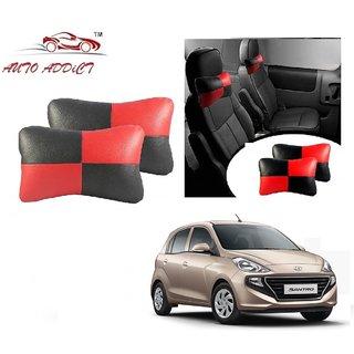 Auto Addict Square Red Black Neck Rest Cushion Pillow Set Of 2 PcsFor Hyundai Santro New 2018