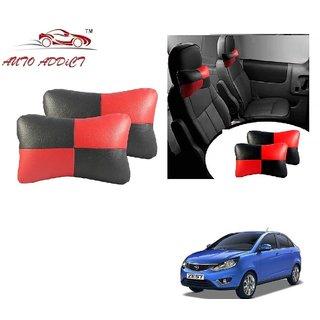Auto Addict Square Red Black Neck Rest Cushion Pillow Set Of 2 Pcs For Tata Zest