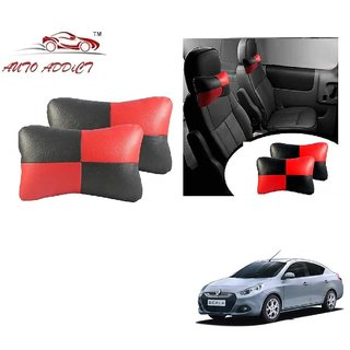 Auto Addict Square Red Black Neck Rest Cushion Pillow Set Of 2 Pcs For Renault Scala