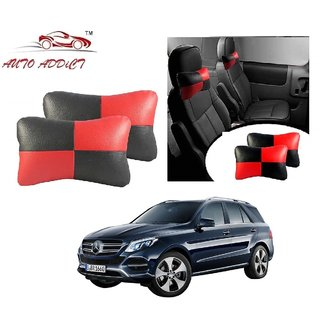 Auto Addict Square Red Black Neck Rest Cushion Pillow Set Of 2 Pcs For Mercedes Benz NA
