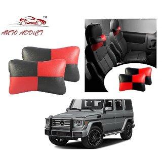 Auto Addict Square Red Black Neck Rest Cushion Pillow Set Of 2 Pcs For Mercedes Benz G-Class