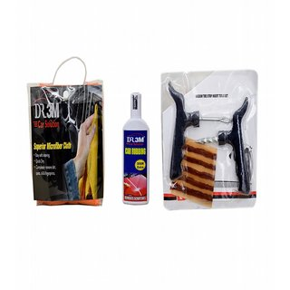 CAR RUBBING 100gm.(30gm EXTRA)+MICROFIBER CLOTH (ORANGE). + Panchar kit ( Master combo Pack)