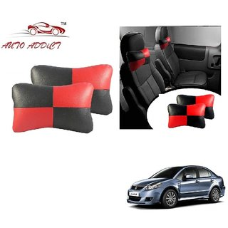 Auto Addict Square Red Black Neck Rest Cushion Pillow Set Of 2 Pcs For Maruti Suzuki SX4