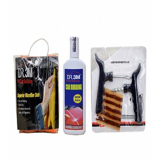 CAR RUBBING 200gm(60gm EXTRA)+MICROFIBER CLOTH (ORANGE). + Panchar kit ( Master combo Pack)