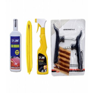 TYRE DRESSER 250ml.+CAR RUBBING 200gm.(60gm EXTRA)+MICROFIBER CLOTH (YELLOW). + Panchar kit ( Master combo Pack)