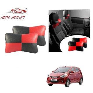 Auto Addict Square Red Black Neck Rest Cushion Pillow Set Of 2 Pcs For Hyundai Eon