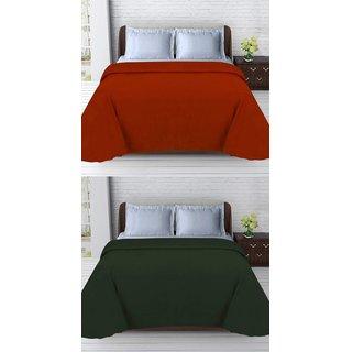 SHAKRIN Double Polar Fleece Plain Blanket (Set Of 2)