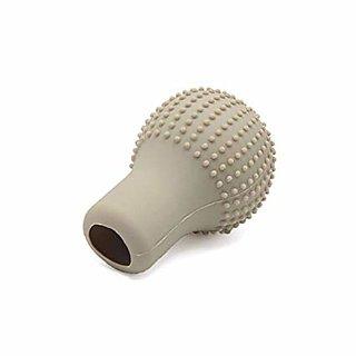 Beige Anti Slip Silicone Gear Knob Cover Universal Size