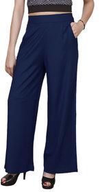 Omikka Casual Wear Crepe Designer Plain Wide Leg Palazzo Pants
