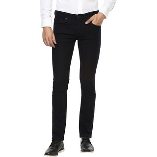 Mufti Blue Black Super Slim Fit Structured Jeans
