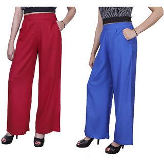 Omikka Casual Wear Crepe Designer Plain Wide Leg Palazzo Pants Pack Of 2