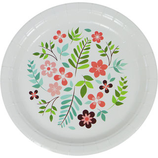 DevEuro 9 inch round printed Biodegradable paper plate