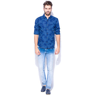 Mufti Blue Full Sleeves Shirt