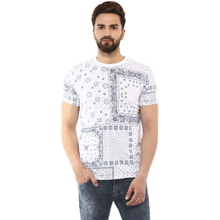 be417cc62f Buy Mufti Men's White Round Neck T-shirts Online - Get 45% Off