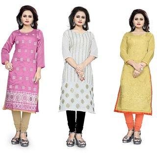 BanoRani Womens Chanderi Multicolor Combo of 3 Embroidery Free Size UnStitched Kurti