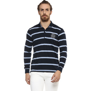 Mufti Navy Polo Stripes with Full sleeves
