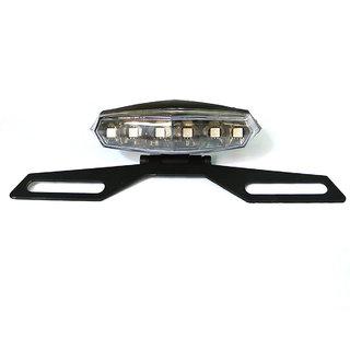Spidy Moto Universal Motorcycle 6 LED 12V License Plate Holder Tail Brake Light Bracket Mount Running Smoke Len Light