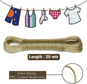 BTM 20 meter PVC Coated Steel Anti-Rust Wire Rope Washing Line Clothesline with 2 Plastic Hooks (Multi Color)