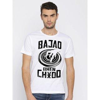 0ad77940a Canis DJ Bajao   Round Neck   Typographic::Slogan Tee   Men's White T-Shirt