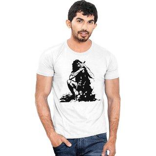 Canis Aghori Baba   Round Neck   Graphic Print    Men's White T-Shirt