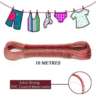 BTM 10 meter PVC Coated Steel Anti-Rust Wire Rope Washing Line Clothesline with 2 Plastic Hooks (Multi Color)