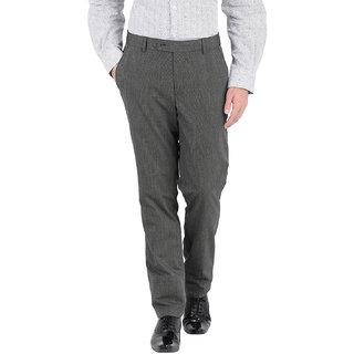 John Players Grey Slim -Fit Flat Trousers