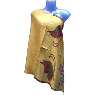 Varun Cloth House Womens Woollen Micro Embellished Stole (vch5073, Yellow, Free Size)