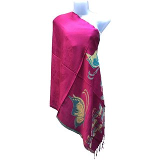 Varun Cloth House Womens Woollen Micro Embellished Stole (vch5079, Pink, Free Size)