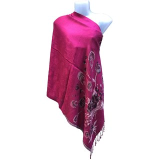 Varun Cloth House Womens Woollen Micro Embellished Stole (vch5080, Pink, Free Size)