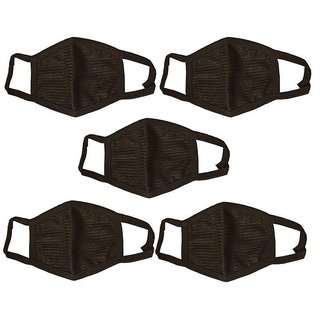 Black Cotton Protective Bike Anti-Pollution/Dust/Smog Face Mask - Set of 5