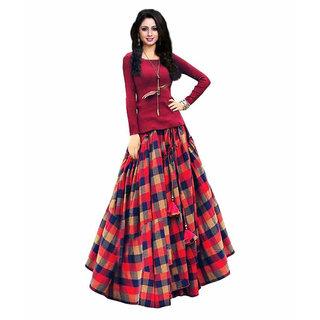 Stylezone Multicoloured Checked Art Silk Lehenga Cholis-tmmm133