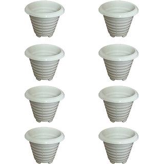 Crete Virgin Plastic White Pot ( Set Of 8 Pcs )