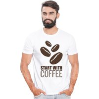 Canis Start With Coffee |Trendy| Round / Crew Neck Men's White Printed T-Shirt