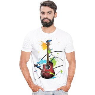 Canis Guitar ColorFull |Trendy| Round / Crew Neck Men's White Printed T-Shirt