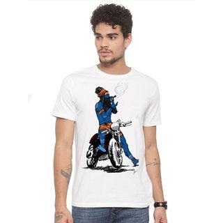 Canis Hukka On Bike Aghori Baba  Trendy  Round / Crew Neck Men's White Printed T-Shirt
