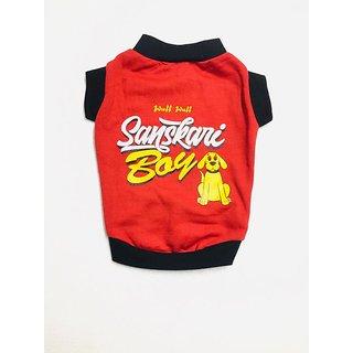 Wuff Wuff Dog T Shirt Sanskari boy Size-28