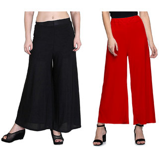 Omikka Women's Stretchy Malia Lycra Wide Leg Palazzo Pants Pack of 2 (Free Size)