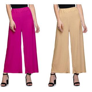 Omikka Women's Stretchy Malia Lycra Wide Leg Palazzo Pants Pack of 2 (Free Size)