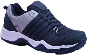 Birde Navy Blue Canvas EVA Running Shoes For Men