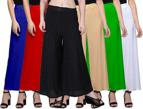 Omikka Women's Stretchy Malia Lycra Wide Leg Palazzo Pants Pack of 6 (Free Size)